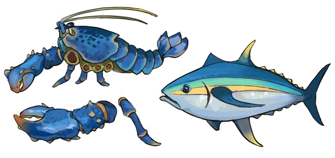 Lobster and tuna concept