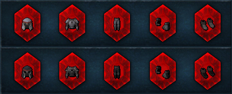 Red gems containing the new Light and Dark armours!