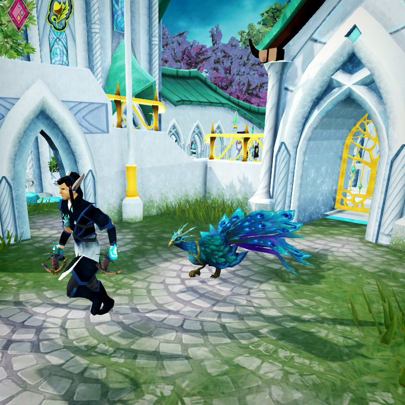 Crystal peacock running