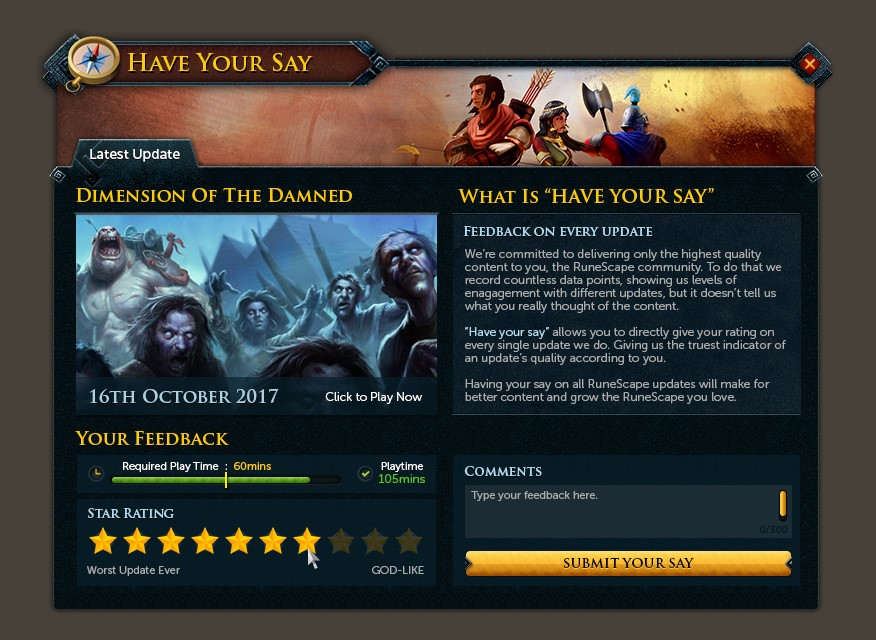 Have Your Say with a new in-game feedback system
